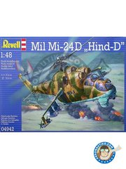 "Revell: Helicopter kit 1/48 scale - Mil Mi-24D ""Hind-D"" - Cottbus AB, 1985 (DE3); Manching AB, 1995 (DE0); Inowroclaw-Latkowo, 2006 (PL0) - different locations - plastic parts, water slide decals and assembly instructions"