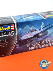 Revell: Airplane kit 1/32 scale - Messerschmitt Me 262 Schwalbe B-1 Nightfighter - Luftwaffe (DE2) - Luftwaffe 1945 - plastic parts, water slide decals and assembly instructions image
