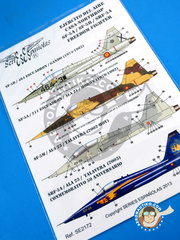 Series Españolas: Marking / livery 1/72 scale - Northrop F-5 Freedom Fighter A/B - Fuerza Aérea Española (ES0) - different locations - water slide decals and placement instructions - for all kits