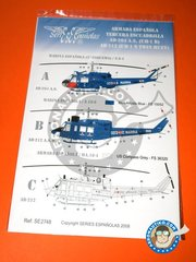 Series Españolas: Marking / livery 1/48 scale -  Bell UH-1 Iroquois B/N - Marina Española (ES0) + Marina Española (ES0) + Marina Española (ES0) - Naval Station Rota   1965 - water slide decals and placement instructions