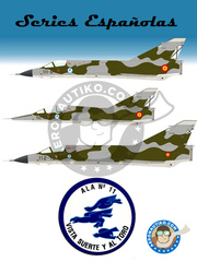 Series Españolas: Marking / livery 1/72 scale - Dassault Mirage III EE/DE - Manises (ES0); Fuerza Aérea Española (ES0); Ejército Español (ES0) - 11th Wing Manises 1971, 1972, 1973, 1974, 1975, 1976, 1977, 1978, 1979, 1980, 1981, 1982, 1983, 1984, 1985, 1986, 1987, 1988, 1989, 1990, 1991 and 1992 - water slide decals and placement instructions - for all kits image