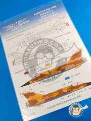 Series Españolas: Marking / livery 1/72 scale - Dassault Mirage F1 - Tercera versión (ES0);  (ES0) - Ala 14, Albacete, 14th Wing, 11th Wing - water slide decals and placement instructions - for all kits