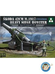 Takom: Howitzer 1/35 scale - Skoda 42cm M.1917 Heavy Siege Howitzer w/ Erich von Manstein Siege Of Sevastopol 1942 - photo-etched parts, plastic parts and assembly instructions - for all dioramas, scenes or vignette