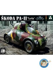 "Takom: Military vehicle kit 1/35 scale - SKODA PA-II ""Turtle"" - plastic parts, rubber parts, water slide decals and assembly instructions"