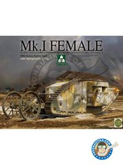 Takom: Tank kit 1/35 scale - WWI Heavy Battle Tank Mk.I Female - photo-etched parts, plastic parts, water slide decals and assembly instructions
