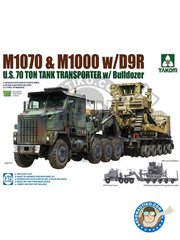 Takom: Model kit 1/72 scale - M1070 and M1000 with D9R U.S. 70 Ton tank transporter - plastic parts, water slide decals and assembly instructions
