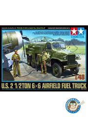 Tamiya: Military vehicle kit 1/48 scale - U.S. 2 1/2TON 6x6 Airfield Fuel Truck - plastic parts, water slide decals and assembly instructions