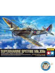 Tamiya: Airplane kit 1/32 scale - Supermarine Spitfire Mk.XVIe -  (GB4); Finningley, UK, march 1949 (GB0) - metal parts, paint masks, photo-etched parts, plastic parts, rubber parts, water slide decals and assembly instructions