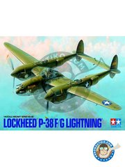 Tamiya: Airplane kit 1/48 scale - Lockheed P-38 F/G Lightning Aircraft Series No.120 -  (US7) - paint masks, plastic parts, water slide decals and assembly instructions