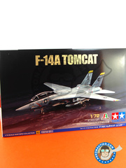 Tamiya: Airplane kit 1/72 scale - Grumman F-14 Tomcat A - Virginia Beach, Virginia (US0); NAS Oceana, Virginia Beach, Virginia (US0) 1970 - plastic parts, water slide decals and assembly instructions image