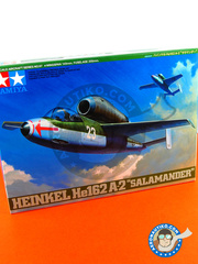 Tamiya: Airplane kit 1/48 scale - Heinkel He 162 Salamander A2 - July 1943 (DE2) - Luftwaffe 1945 - plastic parts, water slide decals and assembly instructions