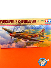 Tamiya: Airplane kit 1/48 scale - Ilyushin IL-2 Shturmovik IL-2M3 - Russian Air Force (RU4); Russian Air Force (RU2) 1944 and 1945 - plastic parts, water slide decals and assembly instructions image