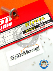 Top Studio: Detail - 1.0mm rivets - turned metal parts - 20 units