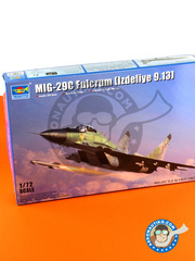 Trumpeter: Airplane kit 1/72 scale - Mikoyan MiG-29 Fulcrum C Izdeliye 9-13 - Russian Air Force (RU2); Ukraine Air Force (UA0) - different locations - plastic parts, water slide decals and assembly instructions image