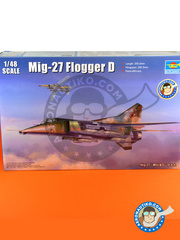 Trumpeter: Airplane kit 1/48 scale - MiG-27 Flogger D - Russian Air Force (RU2) - different locations - photo-etched parts, plastic parts, water slide decals and assembly instructions image