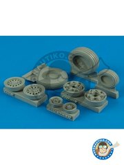 Wheelliant: Wheels 1/48 scale - F-16C/CJ Fighting Falcon Weighted wheels (Good Year production) - resin parts and assembly instructions - for Tamiya kits