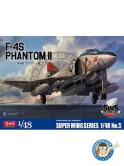 Zoukei-Mura: Airplane kit 1/48 scale - F-4S Phantom II || Super Wings Series No.5 - 1981 (US0) - plastic parts, water slide decals and assembly instructions