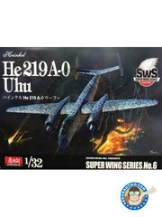 "Zoukei-Mura: Model kit 1/32 scale - Heinkel He 219A-0 ""Uhu"" - paint masks, plastic parts, water slide decals, white metal parts and assembly instructions"